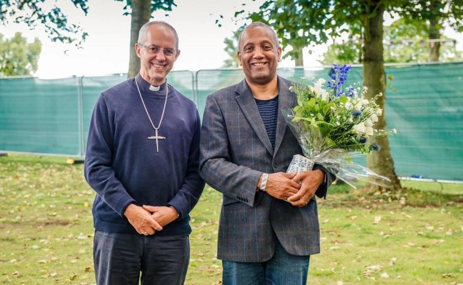 Archbishop Justin Welby with John Swinton, the winner of the 2016 Michael Ramsey Prize at the Greenbelt festival (Credit: Alex Baker Photography