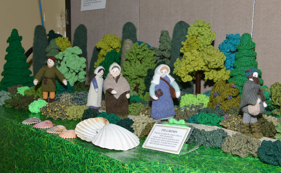 A group of knitted pilgrims