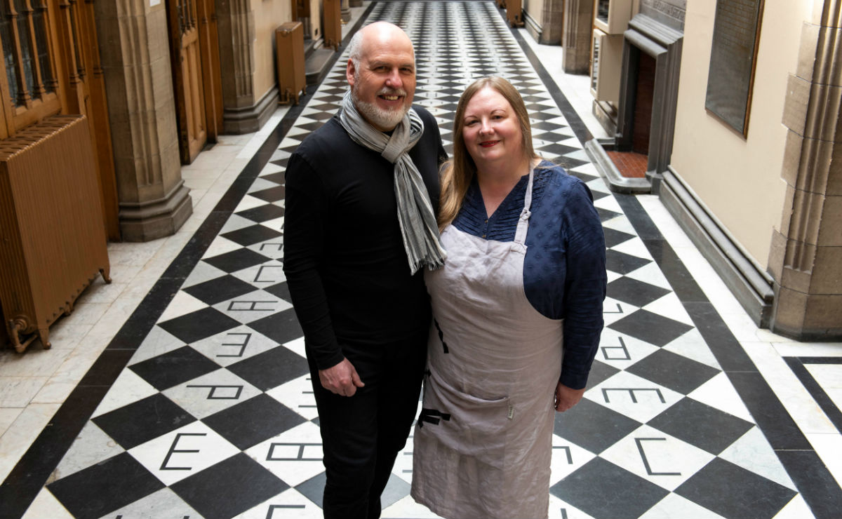Rev Peter Gardner and his wife Heidi, who are both artists, have spent the last week constructing an installation designed to give commissioners a feeling of peace as they enter and leave the debating chamber.