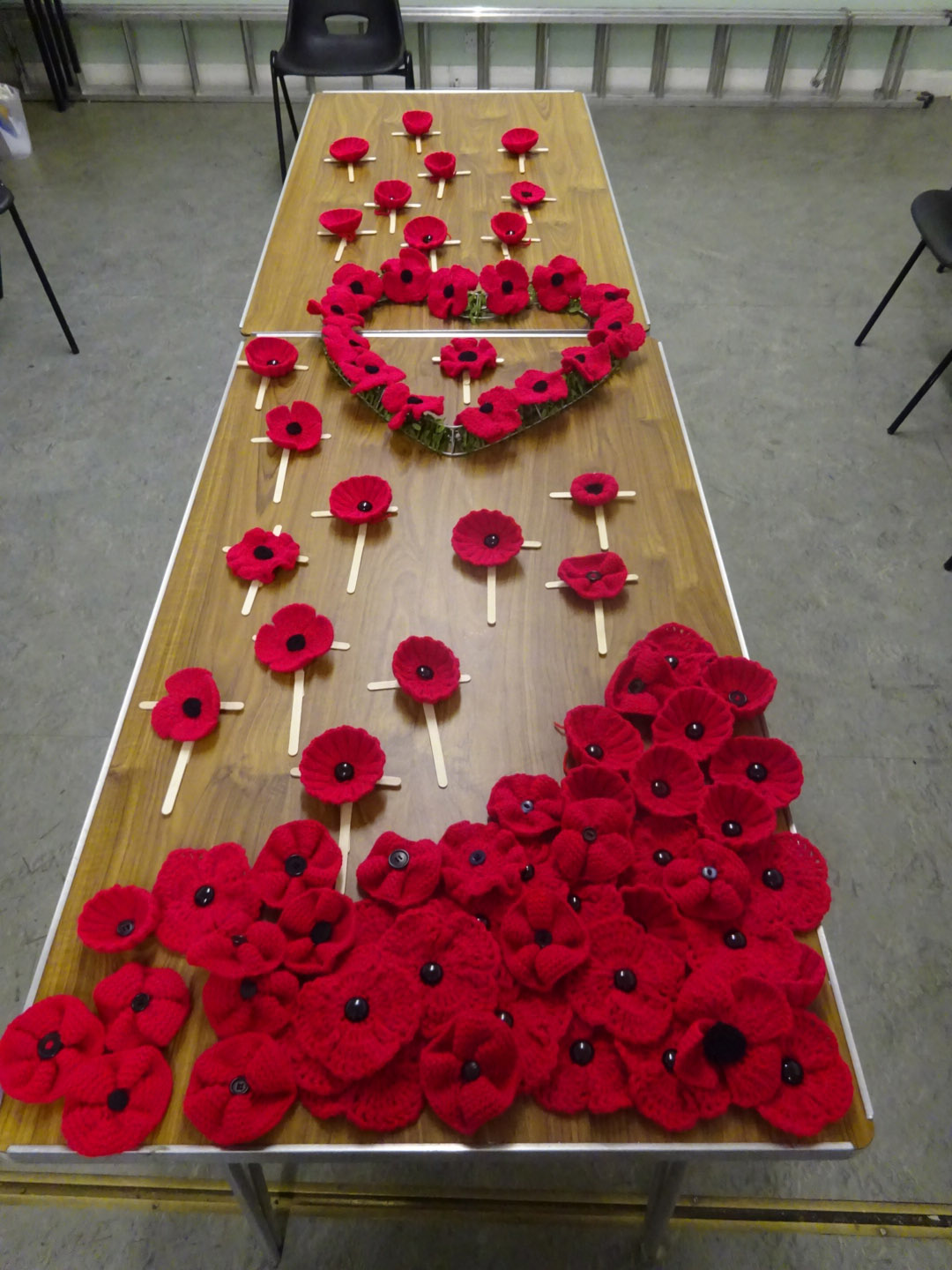 Just some of the poppies organised for the upcoming display in November, which will include crochet and knitted versions.