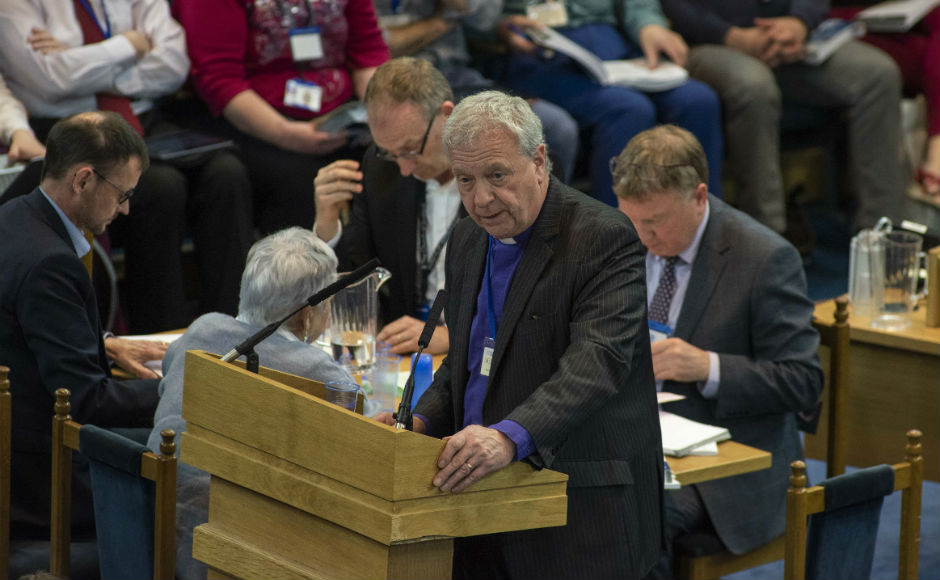 Very Rev Dr John Chalmers delivering the report to the General Assembly