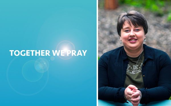 Dana McQuater next to a graphic saying Together We Pray