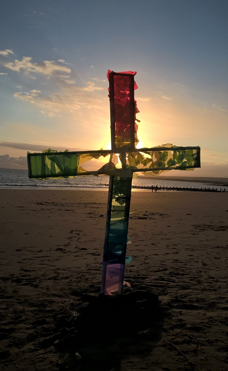 Handcrafted cross erected on Portobello beach at the Easter Sunday sunrise service