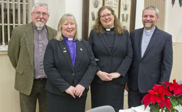 From l-r Rev Charles Finnie of Burnfoot Church, Rev Sheila Moir of Maxton & Mertoun linked with Newtown St Boswells linked with St Boswells (Probation Supervisor), Rev Rachel Wilson and Rev Alistair Cook. Photograph by Bill McBurnie