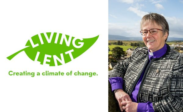 Rt Rev Susan Brown at Dornoch Cathedral next to the Living Lent logo