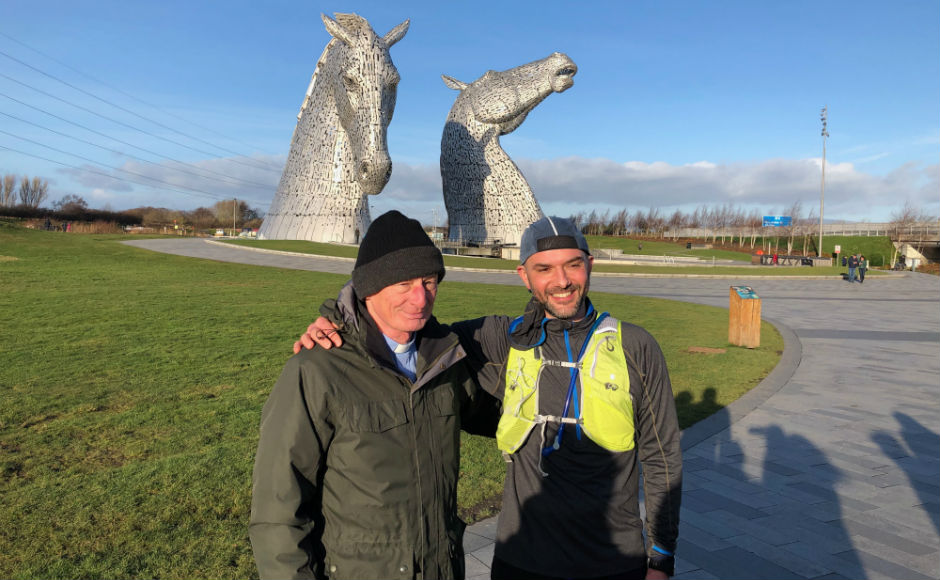 At the Kelpies on the first run in January with Rev Andrew Sarle of Bainsford Church of Scotland in Falkirk