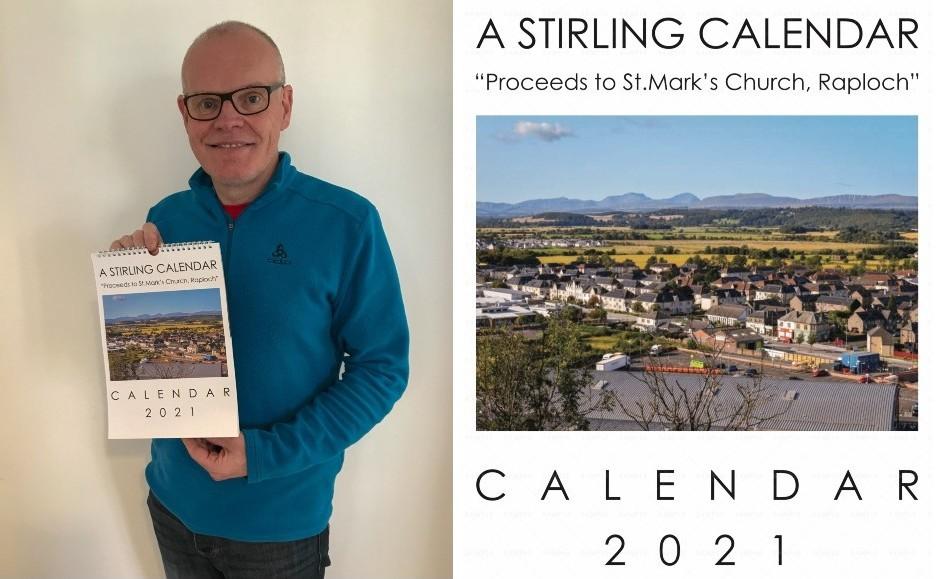 Rev Barry Hughes holding the calendar