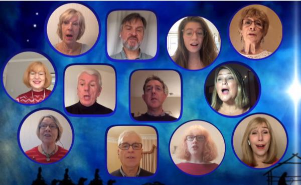 Members of Queen's Cross Church Choir performing through their webcams