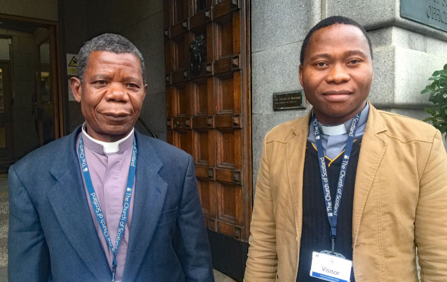 Daniel Joaquim, Moderator of the Evangelical Church of Christ in Mozambique, and Inacio Somueque, Vice Moderator of the Mozambique church