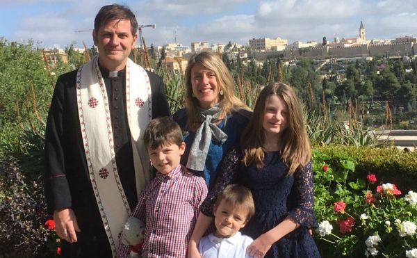 Rev Dr John McCulloch in Jerusalem with his family