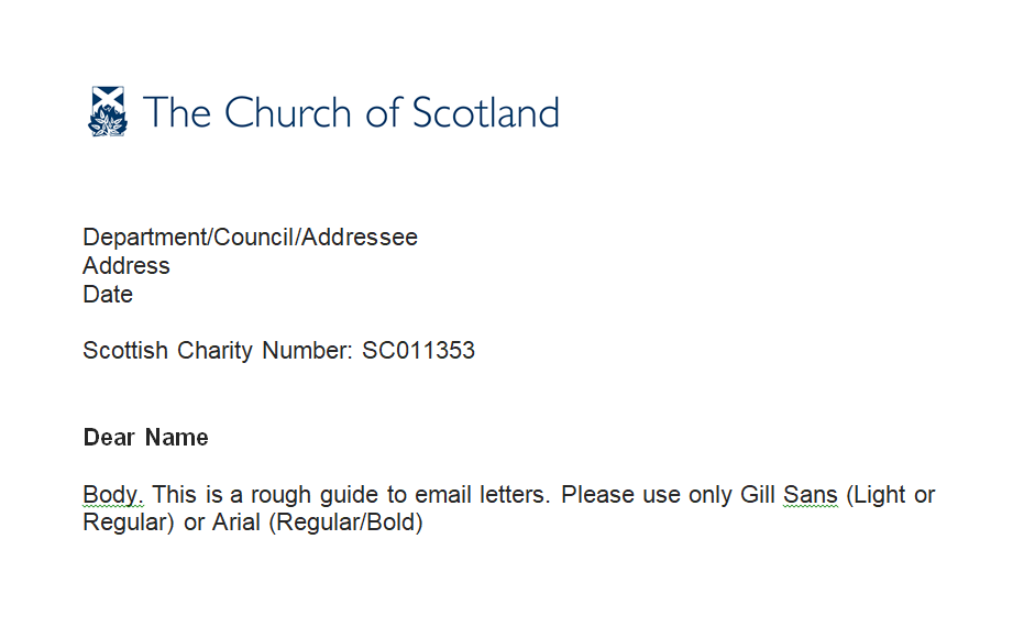 Church of Scotland letter template