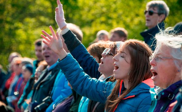A group of people singing at the Church of Scotland's Heart and Soul festival