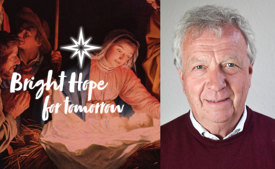 Very Rev Dr John Chalmers alongside a graphic with 'Bright Hope For Tomorrow' written on it