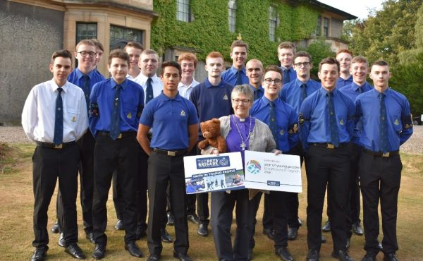 Rt Rev Susan Brown with Boys Brigade youth leaders