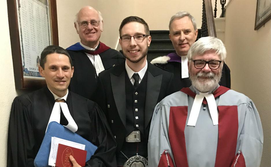 Rev Rodolphe Blanchard-Kowal, Mel Griffiths (Interim Moderator), Rev Andrew Morrison, and Rev Hugh Conkey (Presbytery Clerk), Alan Murray (Presbytery Moderator)
