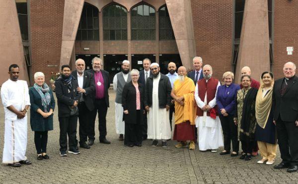 Faith leaders outside Glasgow Central Mosque