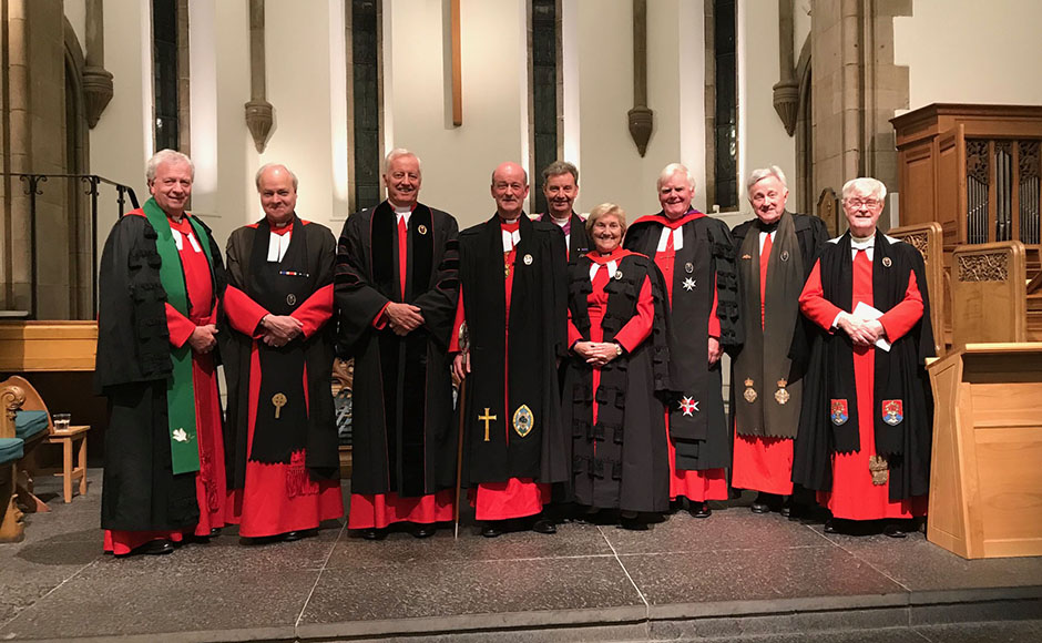 Pictured from left to right: Very Rev Dr John Chalmers; Very Rev Professor Iain Torrance; Rev Dr George Whyte; Very Rev Professor David Fergusson, Dean of the Chapel Royal and Dean of the Order of the Thistle; Rev Neil Gardner; Very Rev Dr Lorna Hood; Very Rev Dr John Cairns; Rev Professor Norman Drummond; and Rev Charles Robertson.