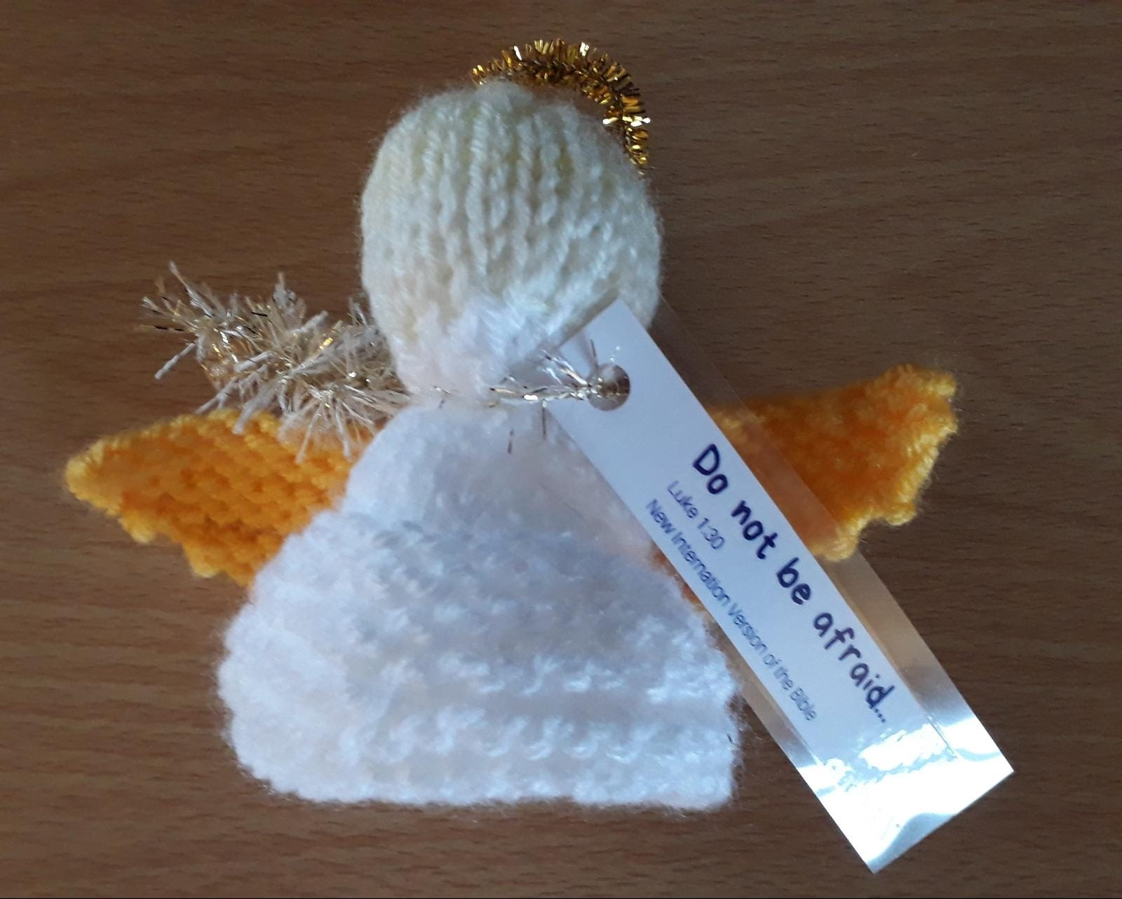 One of the knitted angels