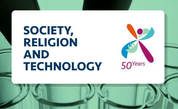 Society, Religion, Technology logo over test tubes