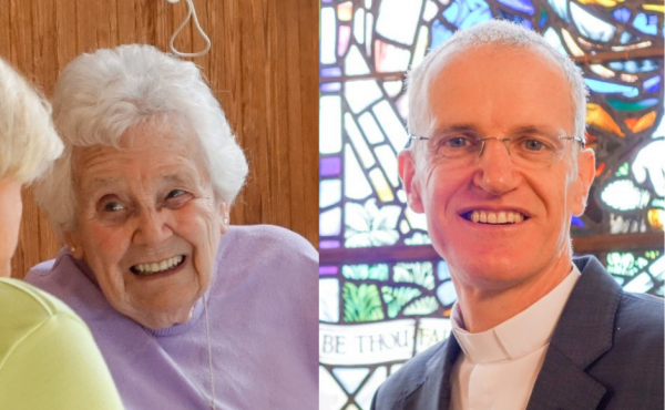 Barbara Stonehouse and the minister of her church, Rev Dr Neil Dougall.