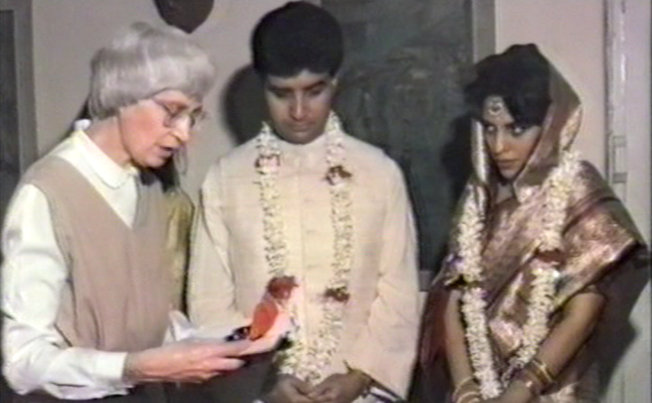 Rev Margaret MacGregor blessing the wedding of Neville and Sagarika Raschid in 1990, the last time they met