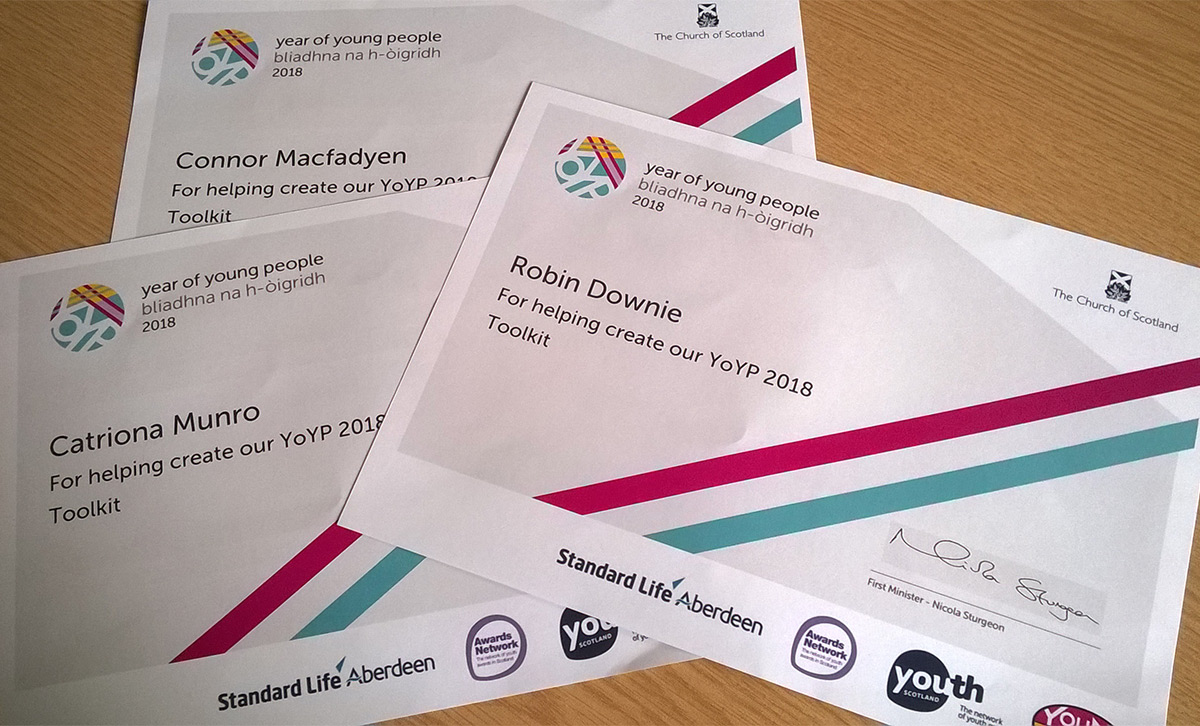 Year of Young People certificates
