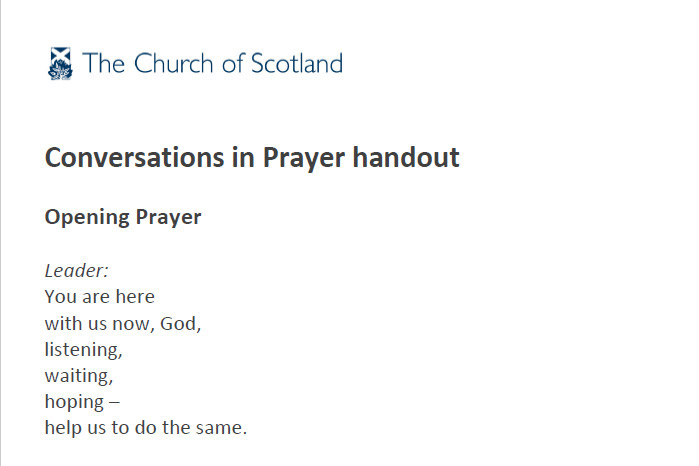 Conversations in Prayer handout
