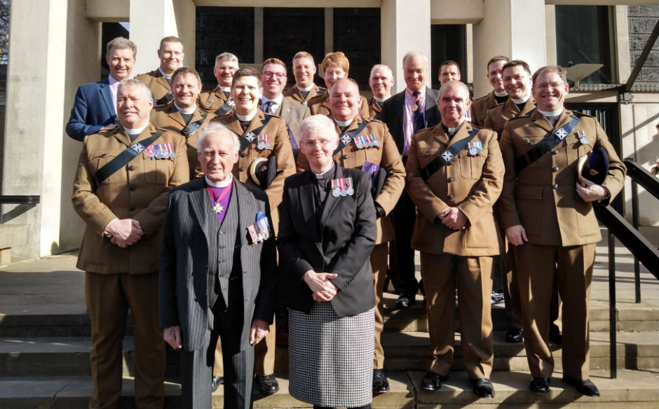 Church of Scotland army chaplains gathered together for a photo to mark the anniversary