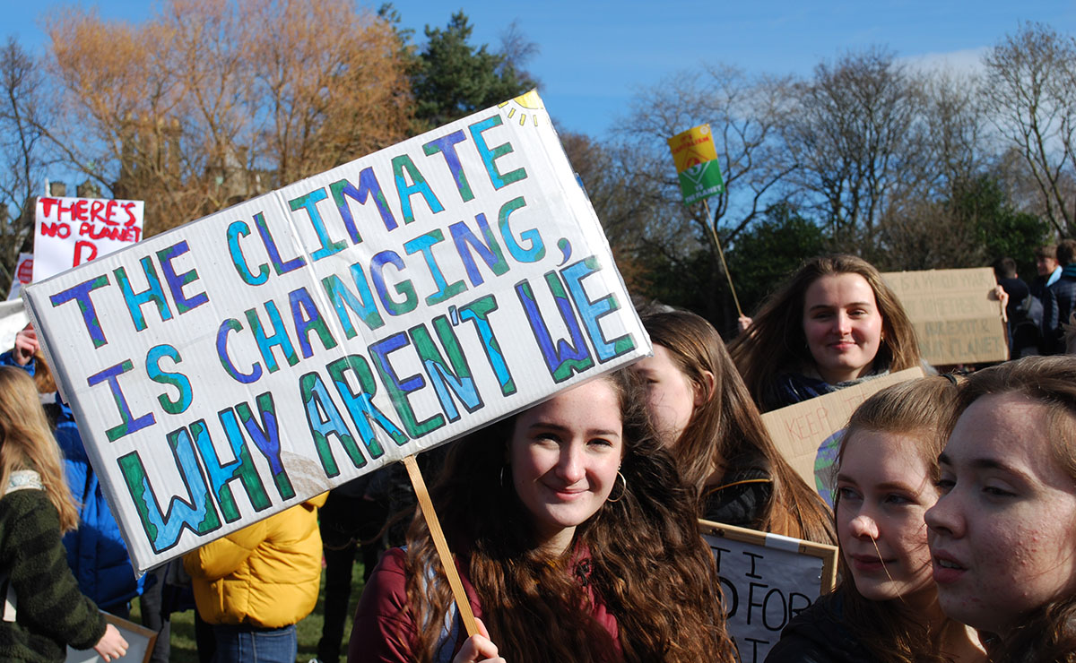 School pupils take part in a recent demonstration against climate change outside the Scottish Parliament