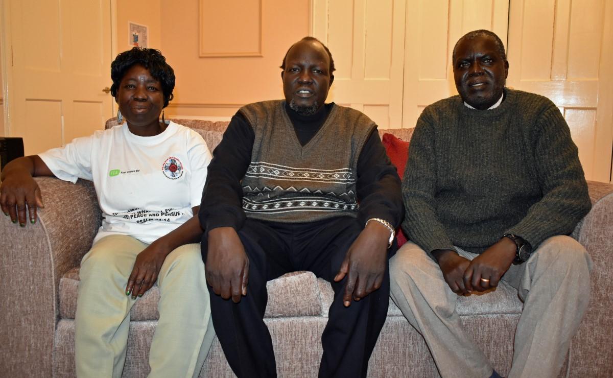 Three of the South Sudanese ministers from left: Rev Paska Aciya Nimiriano Siya,  Rev. John Yor Nyiker Deng and Rev. Orozu Lokine Daly Alaan