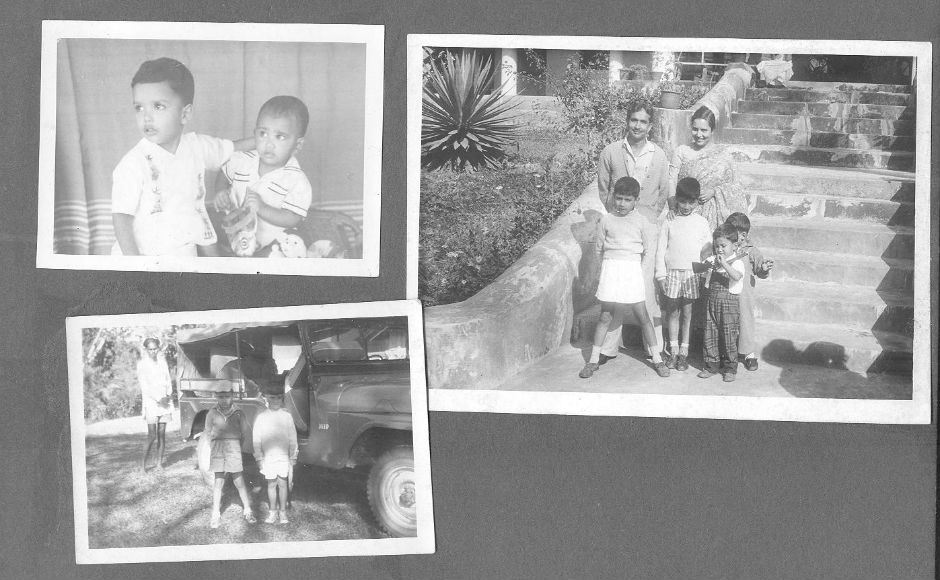 Family photos from the early 60s including on the steps of the manager's bungalow, Rajnagar Tea Estate. The group photo features Neville, in the centre of the photo, with his brothers Andrew and David, and parents..
