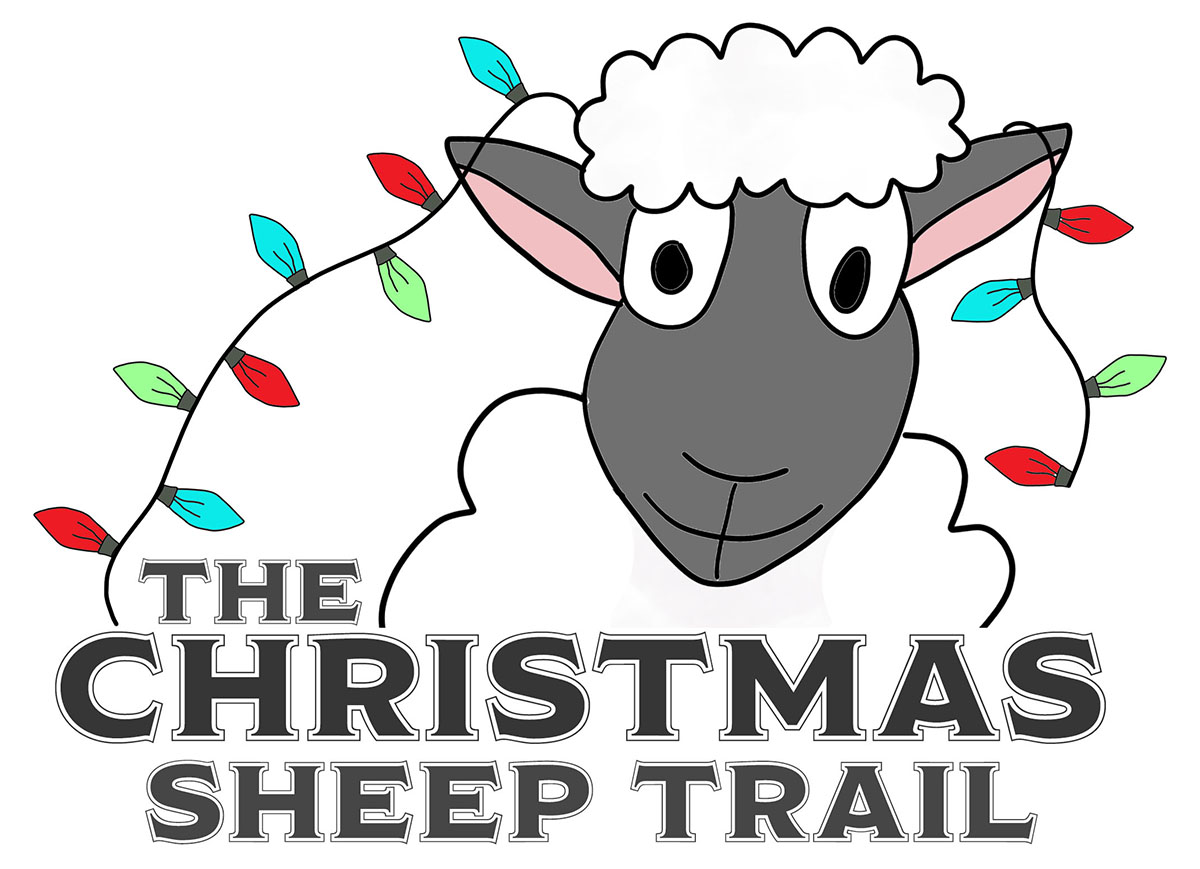 A graphic saying The Christmas Sheep Trail