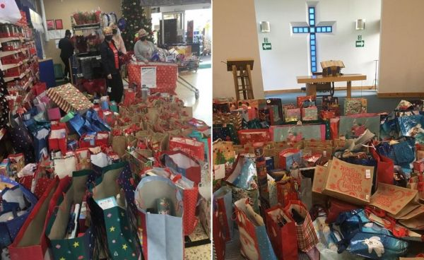 Mansefield Trinity Church partnered with the local Tesco Metro to collect 230 gift bags for children around Kilwinning