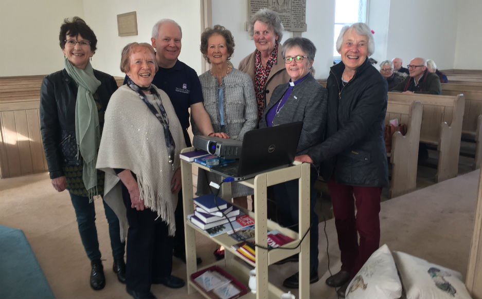 Rt Rev Susan Brown with Rev Marion Dodds and Oxnam Kirk members