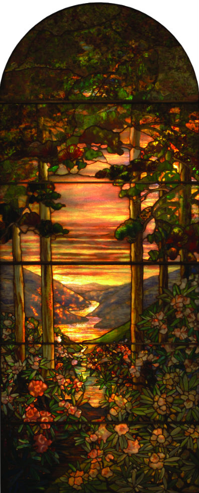 Tiffany window decorated with pastoral scenes