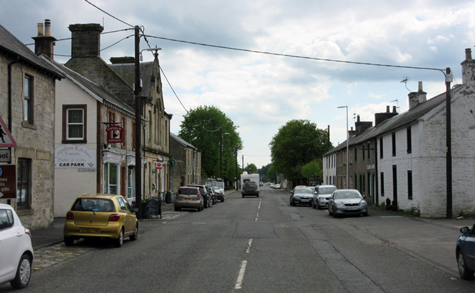 The main street of Newcastleton before the flooding hit