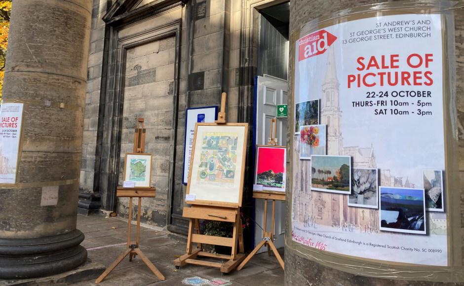 Outside church art sale