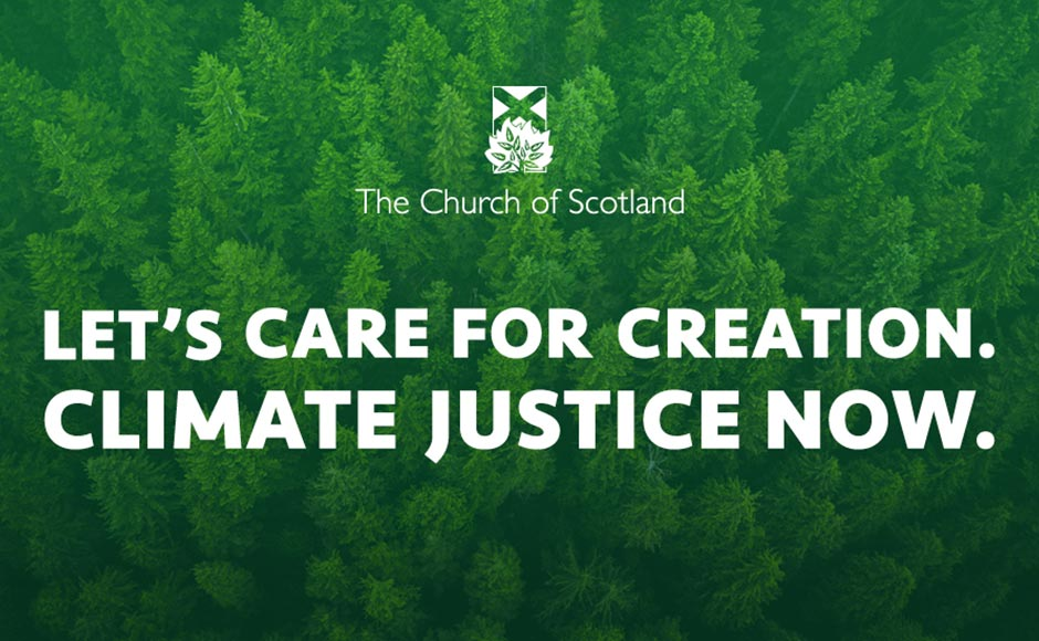 Trees with the words Let's care for creation climate justice now