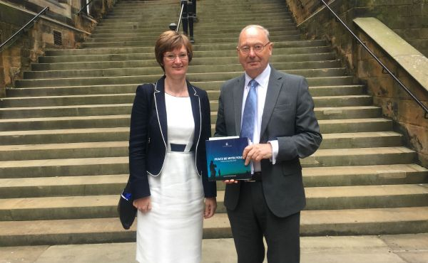 Rt Rev Christopher Hill, Church of England Bishop and outgoing President of CEC, alongside Rev Alison McDonald, convener of the Ecumenical Relations committee and a member of the CEC Governing Board