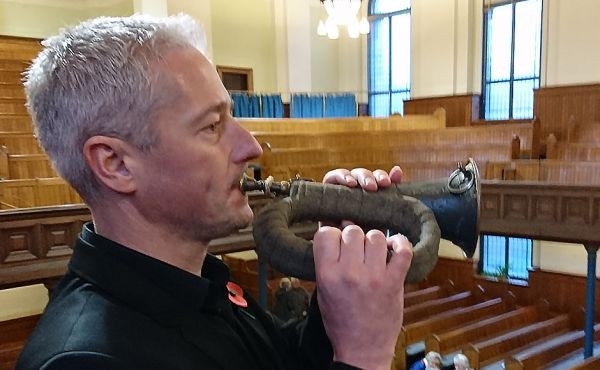 Simon Bird playing Bugle