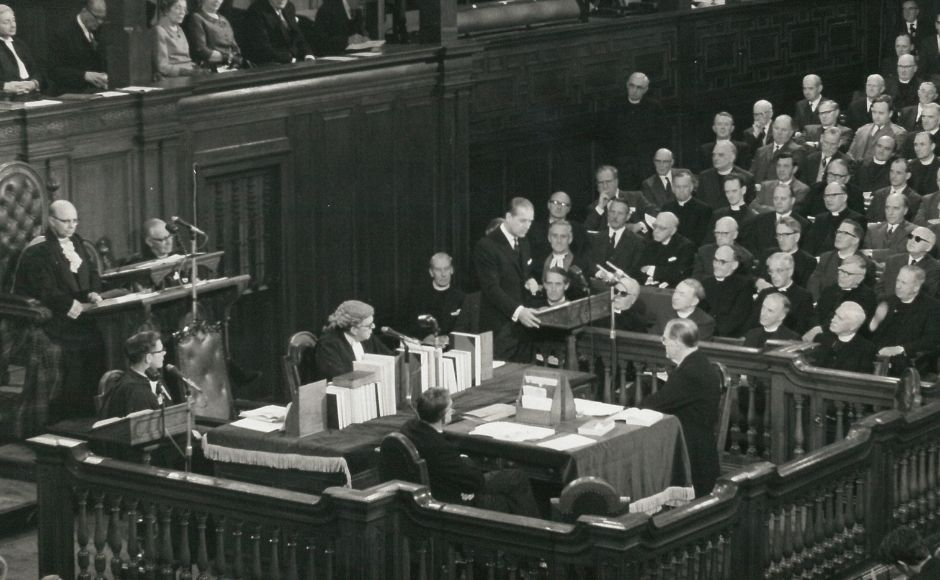 1969 General Assembly showing Prince Philip, the Duke of Edinburgh, addressing the Assembly.
