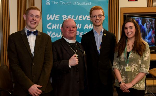 outh Moderator Robin Downie, Moderator of the General Assembly Right Rev Dr Derek Browning and Gigha Lennox