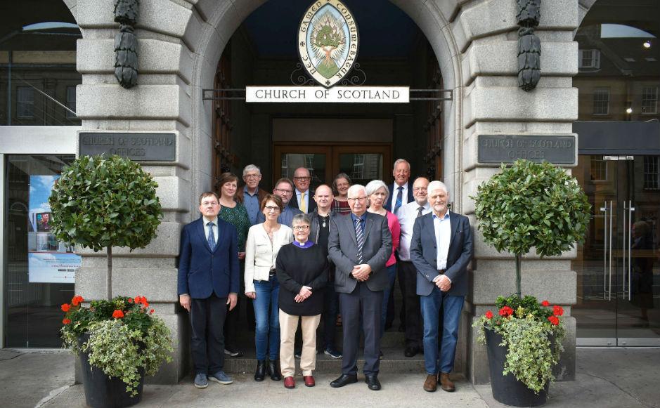 Visitors led by bishop Jógvan Fríðriksson met with Kirk officials