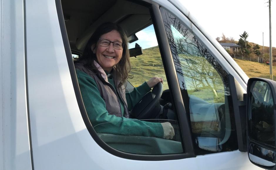 Fiona Ogg behind the wheel