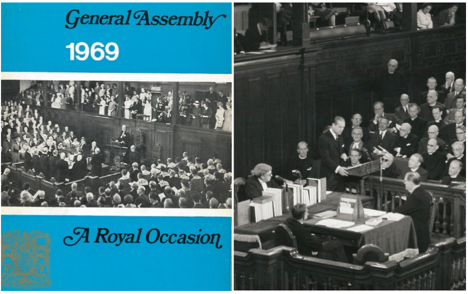 A picture of the front cover of a 1969 commemorative booklet marking the General Assembly and another of Prince Philip speaking