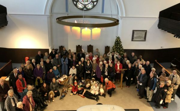 The congregation inside the newly refurbished church