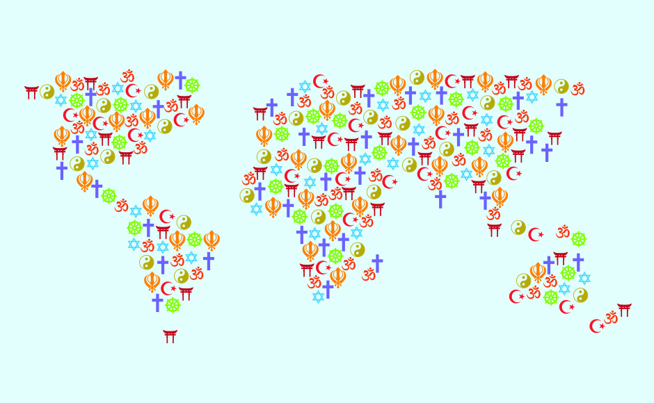 A map of the world designed from religious symbols