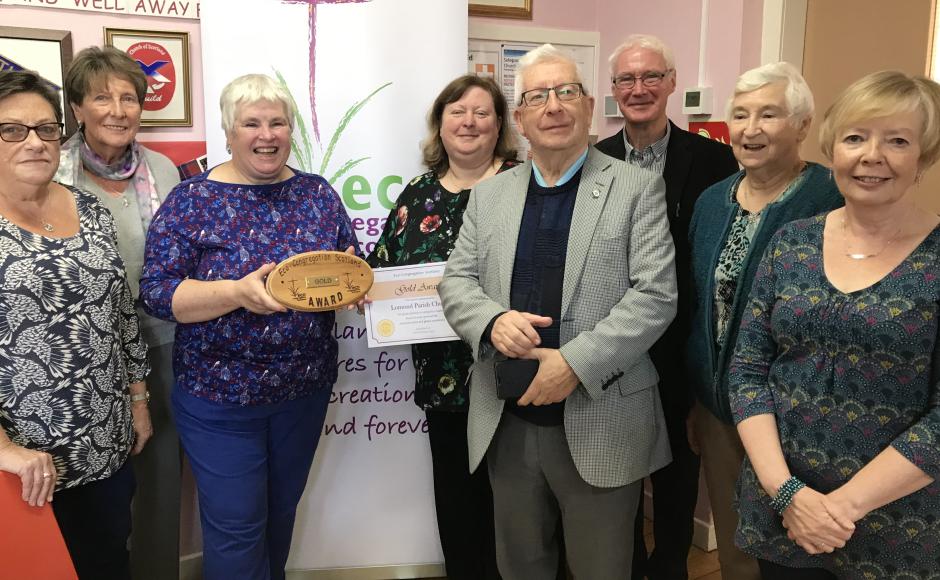 Lomond Parish Church receiving the Eco Congregation Scotland Gold Award