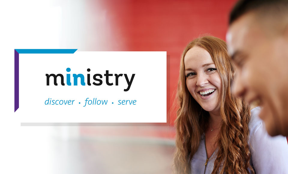 Woman with the word Ministry to the left of her