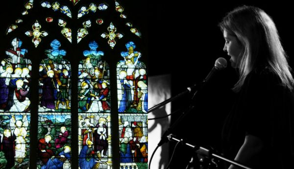One of the stained glass windows at Alloa Ludgate Church & the Rev Carol Anne Parker performing
